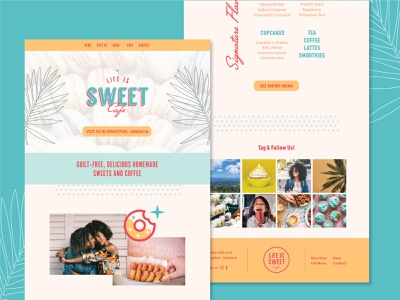 Jamaican Dessert Shop Website Design branding 100days website concept jamaica bakery cafe dessert website ui layout design