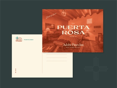 Adobe Pines B&B Postcard design new mexico taos postcards typography weeklywarmup postcard layout branding daily 100 day project