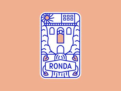 Ronda Spain Monoline Badge graphic design badge design illustration vector badge spain ronda linework monoline