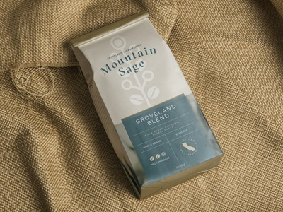 Mountain Sage Coffee Packaging california coffee shop identity design branding coffee packaging packaging coffee