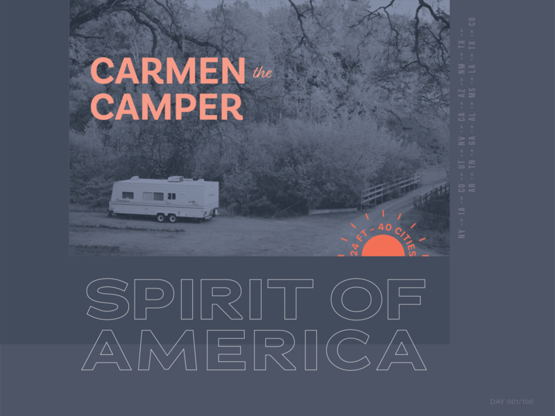 Day 001/100 usa roadtrip travel camper america dailydesignchallenge dailydesign 100dayschallenge 100days layout typography design
