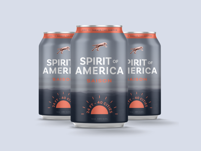 Spirit of America Saison 100days graphic design branding saison daily 100 day project packaging layout roadtrip america beer can beer label