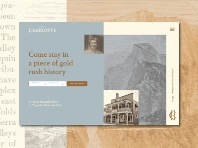 Hotel Charlotte Gold Rush Website layout 100 day project daily hotel booking website hospitality identity uidesign ui hotel branding