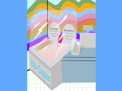 Ice cream shop ice cream icecream shop store desserts dessert food original ice cream shop 3d art bright colors graphic design graphic creative illustration raster digital design procreate