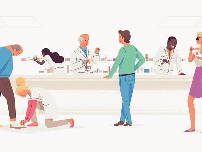 PrescribeWellness - Community illustration prescription doctor character shoe pharmacy