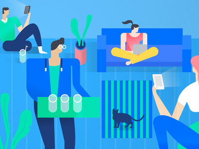 Security Tips - Groups header illustration facebook phone cat drink