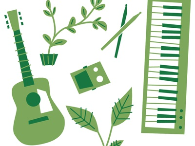 Reverb Earth Day 2019 guitar pedals piano vector plants keyboard guitar instruments music illustration design
