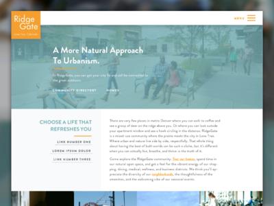 Community Website Homepage grid column navigation overlay homepage website community