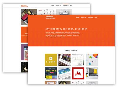 garrettc.me Portfolio Update developer designer director art projects parallax grid orange update website portfolio