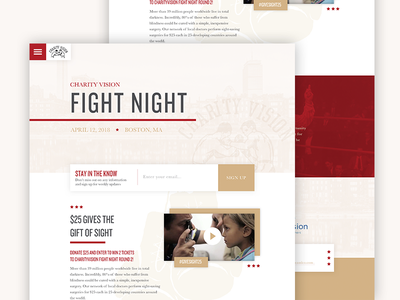 Fight Night Website sign signup overlay airy white homepage texture red cream website night fight
