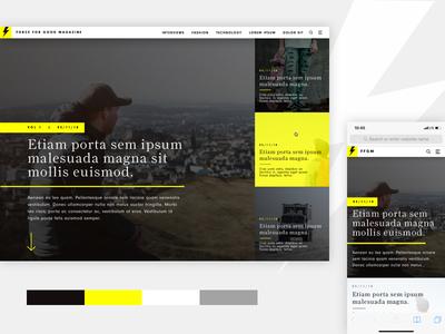 Magazine Website Design sketch black yellow editorial article grid mobile desktop website homepage magazine