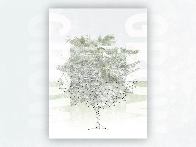 Grow Poster lines dots old paper texture print type old photo collage mesh green poster tree grow