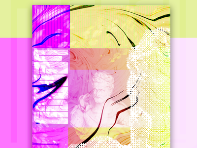 Legacy Poster Design bust bitmap affinity purple yellow color block poster liquid legacy statue fit blend