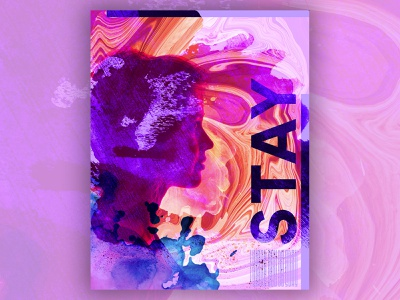 Stay Poster profile woman rebound pattern splatter ink overlay marble stay poster