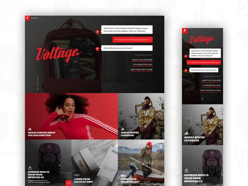 Voltage 2018 Redesign interactive red and black red homepage website chatbots chatbot agency voltage