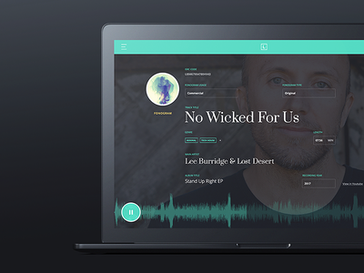 LN Track View licensing minimal web ux ui player music interface dashboard application