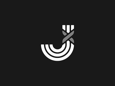 J Monogram identity branding logo lines monochrome greyscale x knot rope tied monogram j