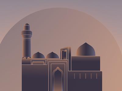 Şirvan Şahlar Palace (Baku/Az) palace illustration baku