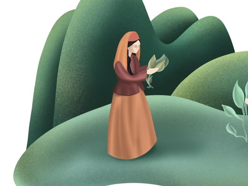 A women on Earth illustration
