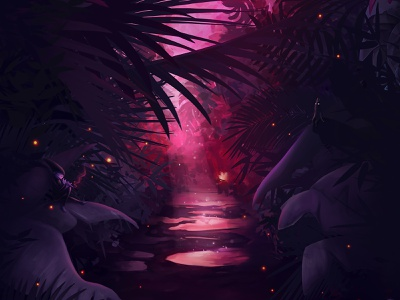 Enchanted Tropical Garden at Dusk environment design fantasy concept illustration digital painting