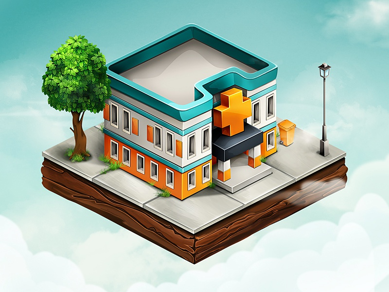 Hospital town map mobile isometric game ios building hospital