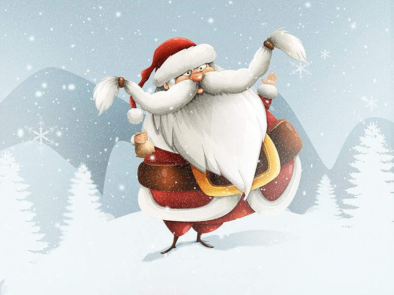 Happy Holidays! snow santa claus winter holidays santa christmas