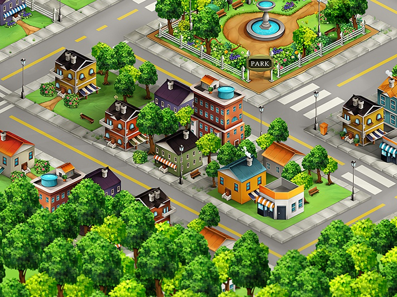 Town  game app isometric city town