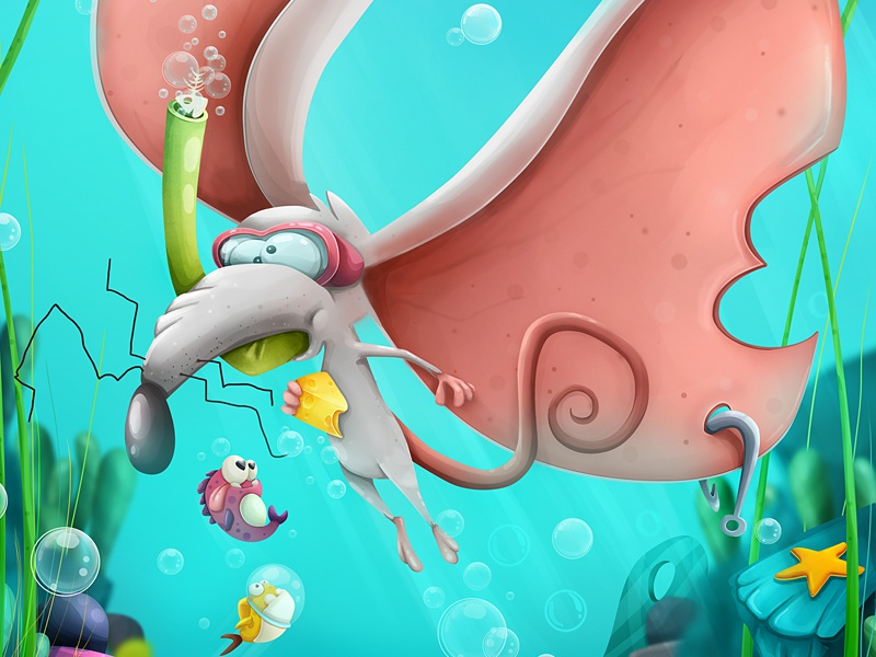 Aqua Mouse concept fish illustration underwater mouse