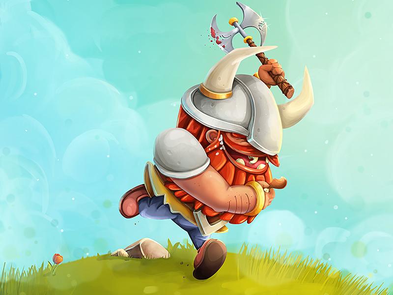 Viking funny illustration concept character warrior viking