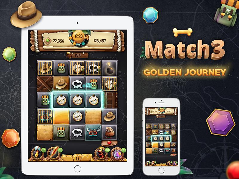 Match 3 - Golden Journey puzzle ux ui adventure app ios game match 3