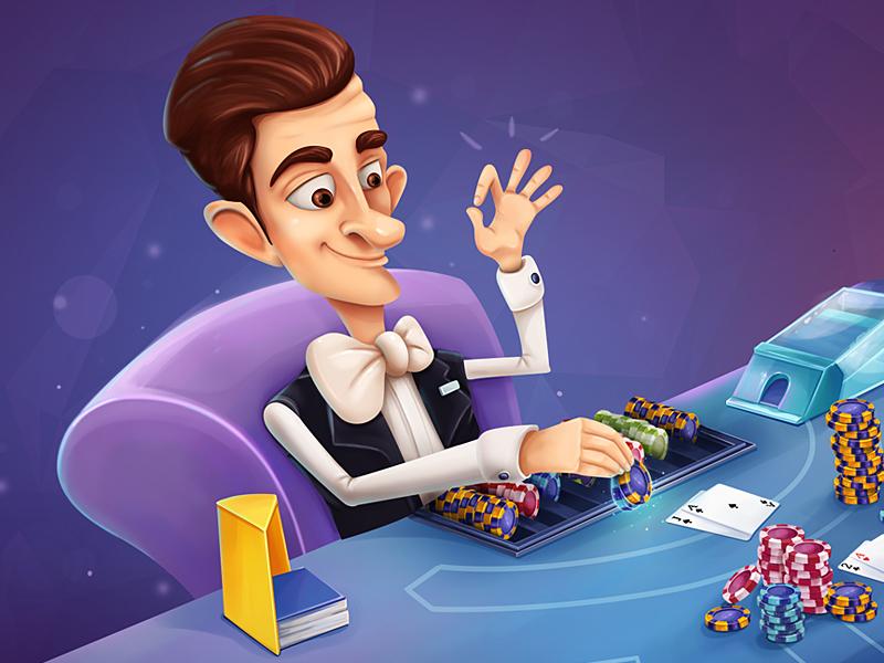 Dealer chips blackjack game casino dealer character