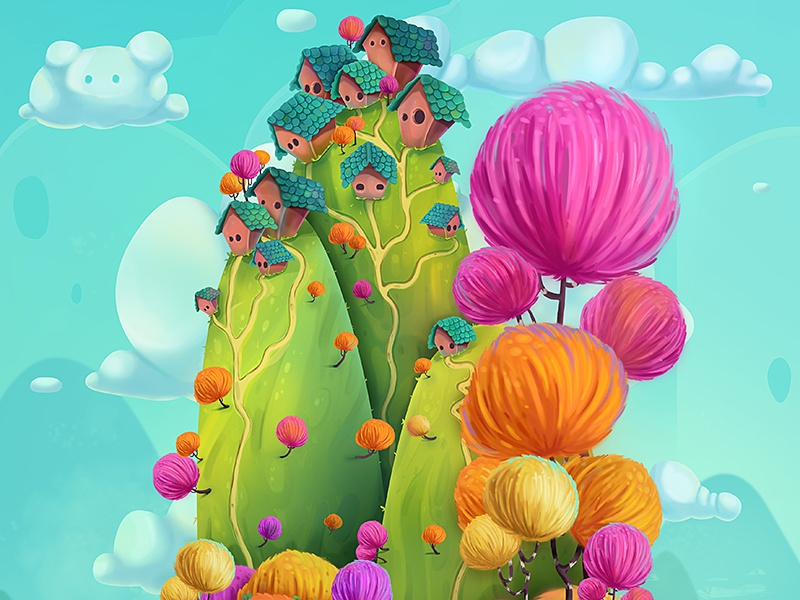 Houses On Hills 2 whimsical fantasy hills houses illustration environment