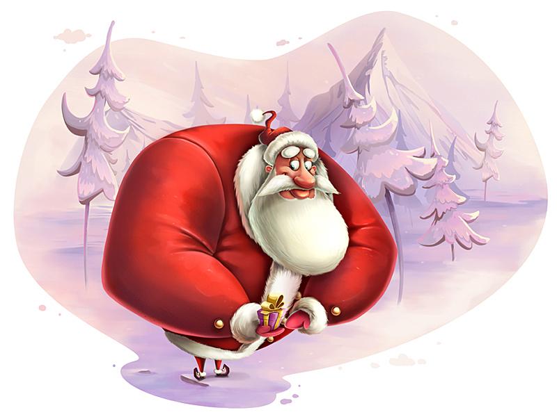 Santa character present gift holiday winter chrismas santa