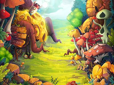 Game environment whimsical illustration mushrooms game background environment