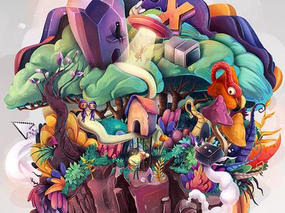 Xenotime concept illustration mineral xenotime