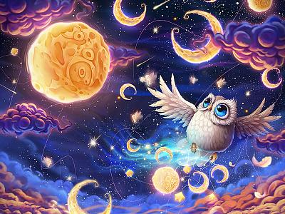 Mille Lunes owl magic night sky night crescent moon
