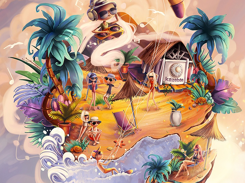 Kazeboo Sunrise sunset sunrise lounge music planet island palm trees seaside beach