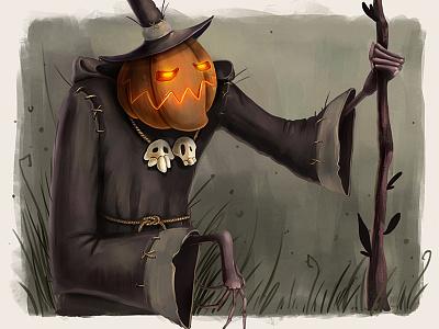 Vladimir illustration spooky halloween pumpkin character