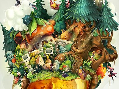 Amber forest illustration gemstone amber concept