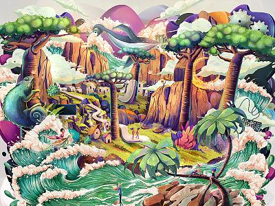Jasper cliffs ocean environment jasper concept illustration