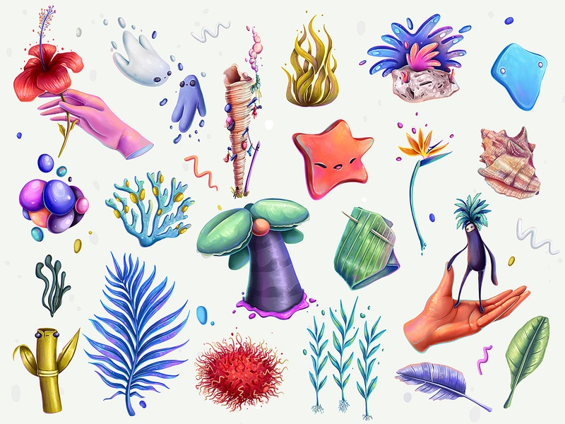 Pocket Things from Thailand algae corals shell island beach thailand character design concept character illustration