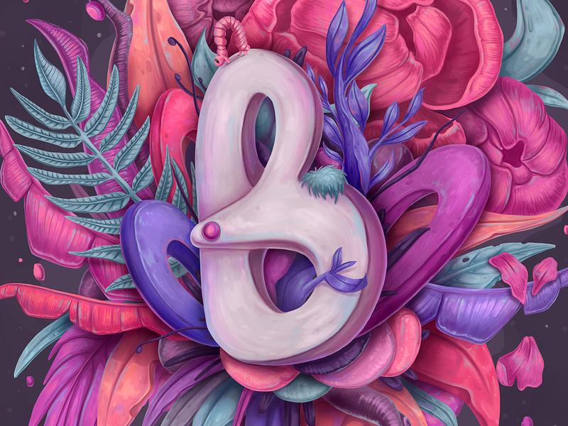B for Botanical 36 days of type botanical illustration lettering 36daysoftype