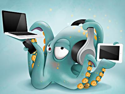 Hypertech Octopus octopus character design mascot illustration e-learning