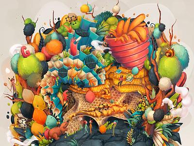 Graphene & Graphite fantasy world fantasy conceptual gemstones conceptual illustration concept illustration