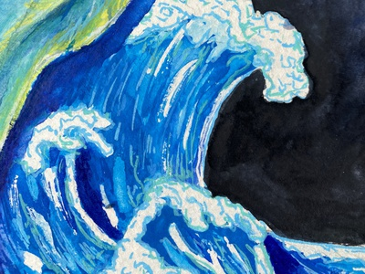 Earth and Moon, Ocean drawings colorful drawing illustration wave ocean