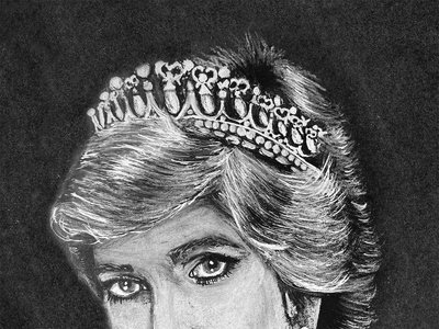 Princess Diana princess black and white illustration drawing