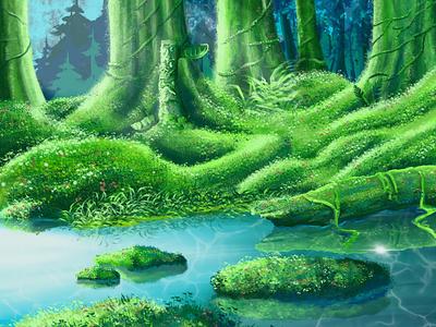 Hammock Swamp procreate colorful illustration drawing swamp