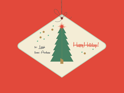 Holiday Card for the Wife mid century tree christmas holiday festive photoshop illustrator