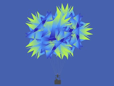 Facet Fiction floating illustration balloon facets sketch