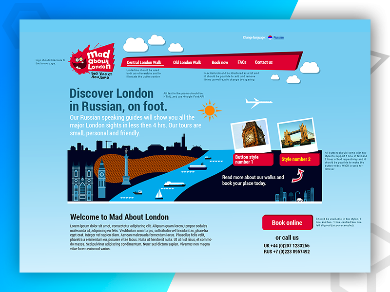 Mad About London web development web design graphic design